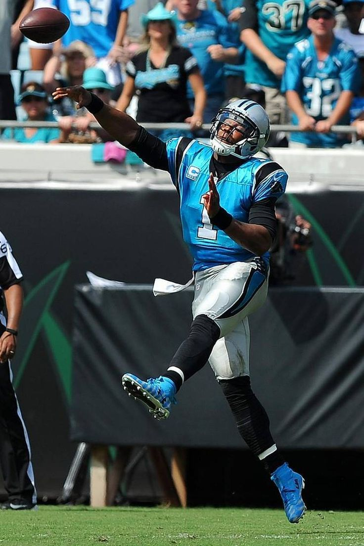 Carolina Panthers quarterback Cam Newton passes to wide receiver Jerricho Cotchery during third quarter action vs the Jacksonville Jaguars at EverBank Field in Jacksonville, FL on Sunday, September 13, 2015. The Panthers defeated the Jaguars 20-9.