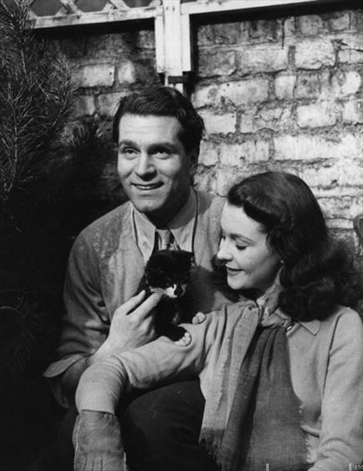 Actor Laurence Olivier, Actress Vivien Leigh and 'Tissy'