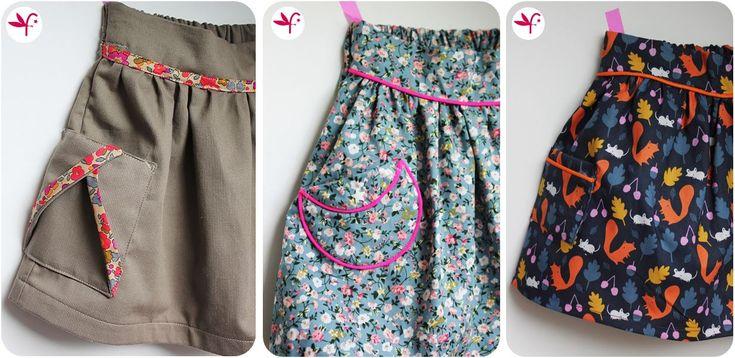 Tuto pour réaliser 3 poches plaquées différentes qui vous permettront se customiser la jupe Poulette ( patron gratuit : http://www.tufaisquoibrique.com/2016/02/ma-jupe-elastiquee-au-dos-tuto-inside.html) ou tout autre jupes / robes qui en sont dépourvues!