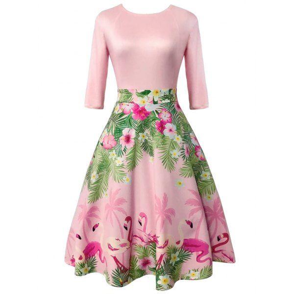 Vintage Floral and Flamingo Print Dress - Light Pink L Mobile