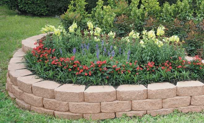 how to build a flower garden using retaining wall blocks