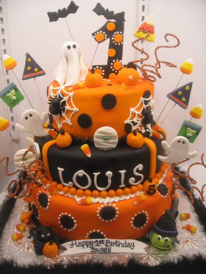 This Was For A First Birthday Halloween Themed Party All Fondant And Edible The BirthdayHalloween CakesBirthday