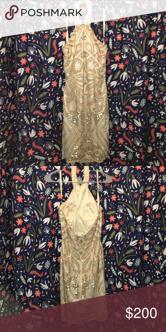 Gold dress Gold/Nude sequin dress Shail K. Dresses Prom