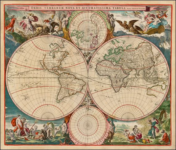 20 best round maps double globes images on pinterest old world prints world map print old maps world globe by mapsandposters gumiabroncs Gallery