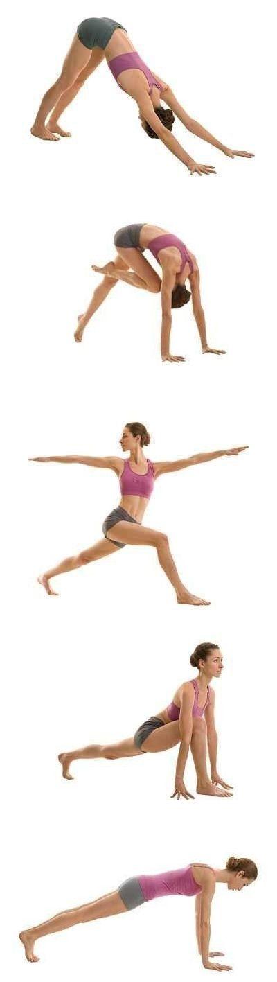 Делаем все медленно, акцент на вытяжении, удлинении мышц, глубокое дыхание. В каждой позиции задержаться на 10 секунд, мышцы живота подтянуты. 1. Горка 2. Тянемся коленом к макушке, спина круглая  3. Выпад с поворотом корпуса, живот втянуть 4. Глубокий выпад, акцент на растяжение 5. Планка на прямых, спина прямая! 6. Возвращаемся в горку и все сначала на другую ногу. Повторить 3 круга.
