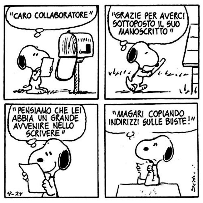 Le lezioni di Scrittura di Snoopy » Lettere di rifiuto Consigli per la carriera...  #scrittura #snoopy