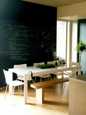 Chalkboard wall- you'd be able to brainstorm with the family at dinner about goals, dreams, and ideas!- would be really dusty though...