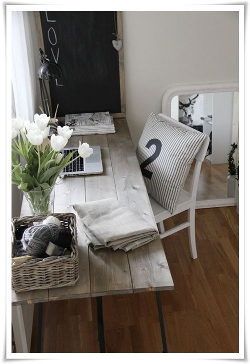 Rustic desk area.. love this & love that the desk has a view out of the window! This would be great for my new craft room!