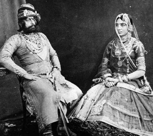 Maharaja Tukht Singh with one of his chief wives.