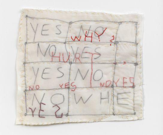 Susan Hefuna, NYC, 2011. Felt, gaze, pen, stiching; 56 x 60 x 4 cm (framed). Winner of the 2013 Drawing Prize,Daniel & Florence Guerlain Fondation d'Art Contemporain