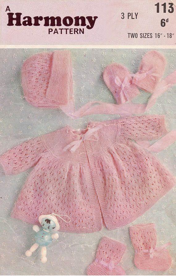 PDF Vintage Pretty Baby Girl PINK Lacy Pram Set Knitting