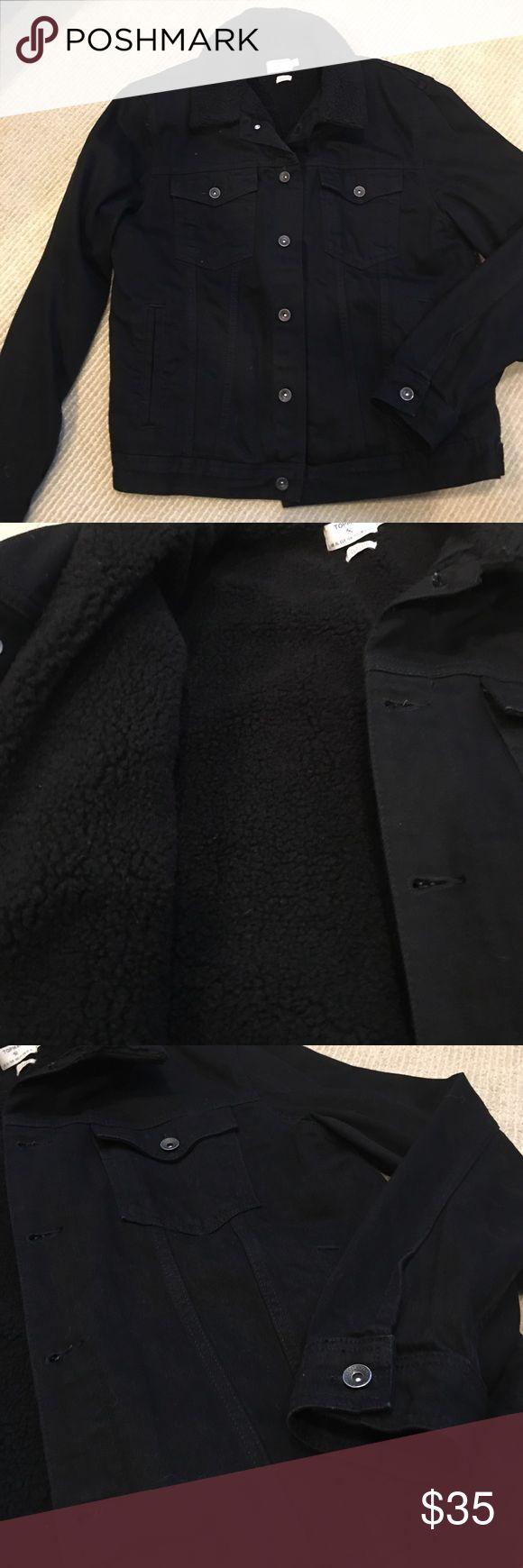 Men's Denim Lined Jacket Black Topman Classic Denim lined Jacket Topman Jackets & Coats Bomber & Varsity