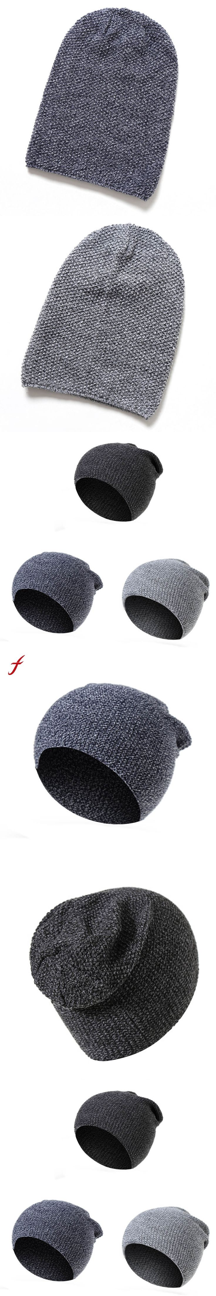 Men Women Baggy Warm Winter Wool Knit Ski Beanie Caps Hat Autumn And Winter women's hats Fashion Hats For man female cap 2017