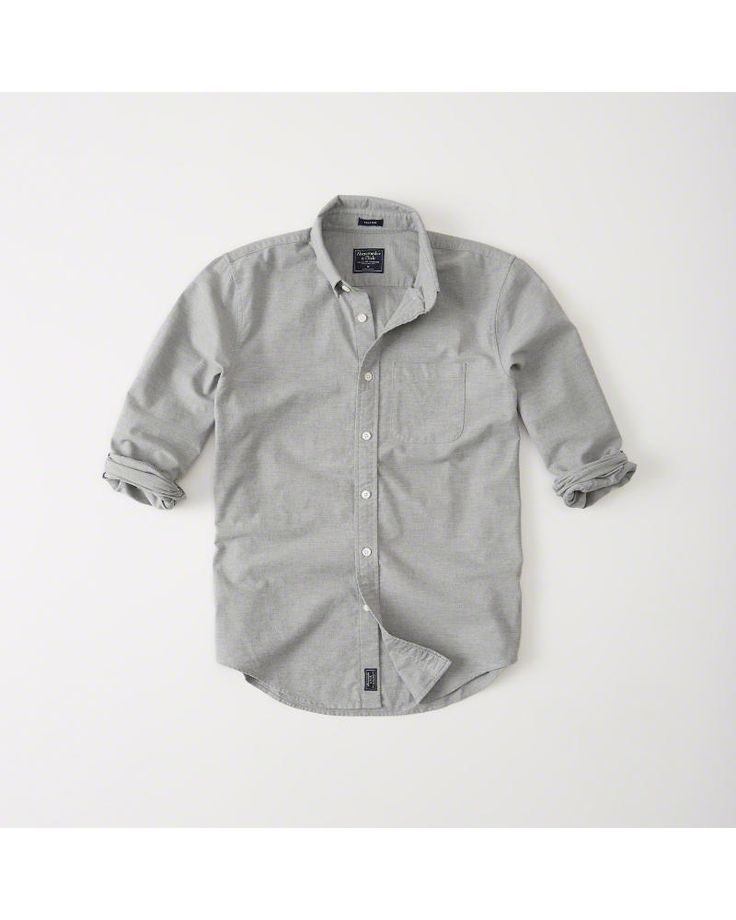 A&F Men's Oxford Shirt in Grey - Size XXL