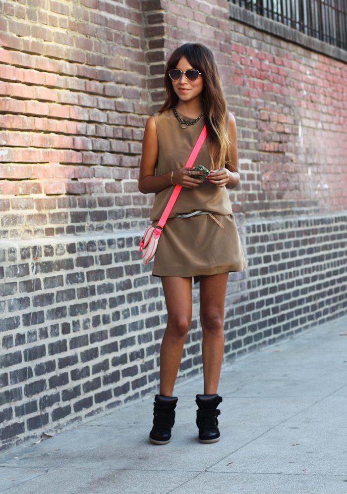 Dress: Jenni Kayne     Necklace: Luv AJ     Bag: American Eagle    Sneakers: Isabel Marant    Heart Shaped Sunglasses: UO