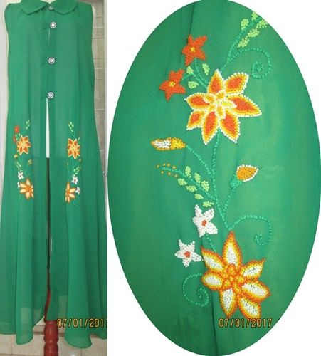 blouse panjang sulam tusuk peniti !00% handmade