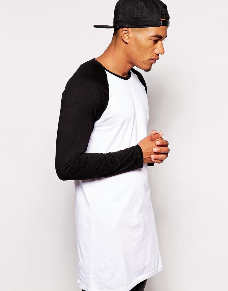 ASOS Super Longline Long Sleeve T-shirt With Contrast Raglan Sleeves