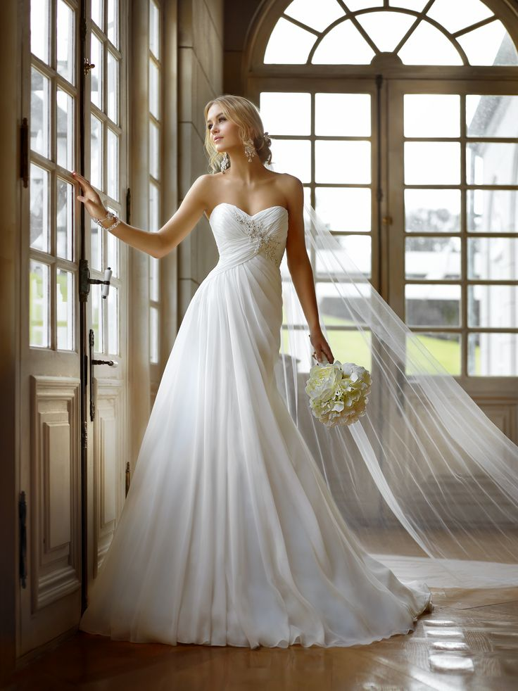 low cost wedding dresses in atlantga%0A Stella York STyle      Flowing Chiffon white gown is airy with a lovely  ruched bodice encrusted with crystal and lace detailing