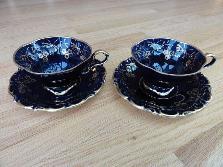 Pair (2) VINTAGE LINDNER Cobalt Blue & Gold Tea Cups and Saucers - West Germany | Antiques, Decorative Arts, Ceramics & Porcelain | eBay!