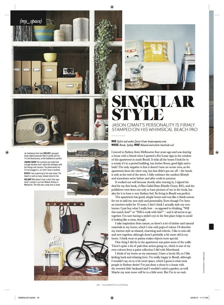 Jason Grant's own home featured in Sunday Style