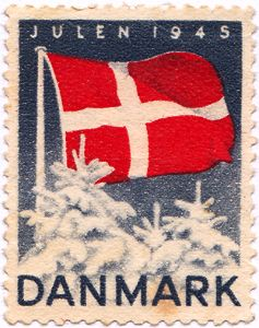Danish Jul - the first Christmas after WWII... My mothers cousin, Gotfred Therkildsen, worked for the DANISH underground taking Jews in row boats across to Sweden during the war. He was back with his family by the time this stamp came out.