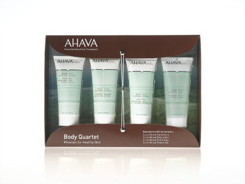 Ahava Body Quartet Gift Set by AHAVA. $59.99. This set features AHAVA's signature products that work to cleanse and replenish moisture to hands, feet, and body. Powered by an exclusive mineral complex comprised of 21 essential minerals, these treatments work to nourish and restore skin to optimal health. A fabulous collection for those who love AHAVA or for first-timers looking for something new! Kit Includes: Mineral Hand Cream, 3.4oz This extremely rich cream provi...