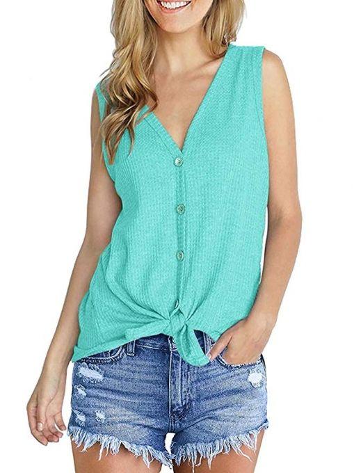 be2ca119fe33 US$ 16.99 - Women's Casual T Shirts Twist Knot Tunics Tops/sleeveless Light  Green - www.ladiesstar.com