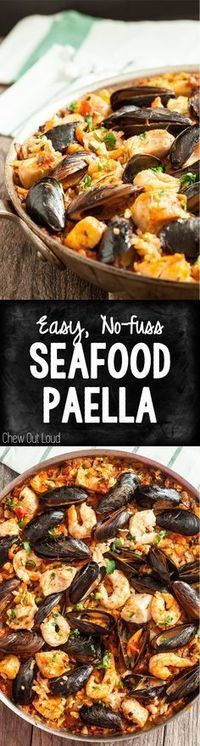 This Easy Seafood Paella is simplified and delish! No mortar/pestle or paella pan needed. It's quicker, easier, and succulent! #seafood #paella #rice #shrimp #fish #delicious #healthy #fitness #dinner #recipe #chewoutloud www.chewoutloud.com