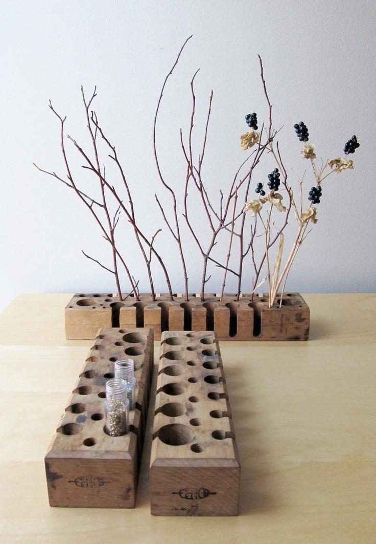 wooden test tube rack, rustic wedding decor, minimalist flower vase. $28.00, via Etsy.