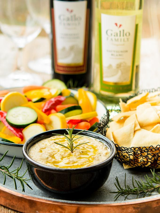 Rosemary White Bean Dip is a quick, easy, and tasty appetizer for game day, entertaining, or to enjoy as a snack. Pair with Gallo Family Vineyards Sauvignon Blanc or Cabernet Sauvignon for a winning combo! #SundaySupper #GalloFamily