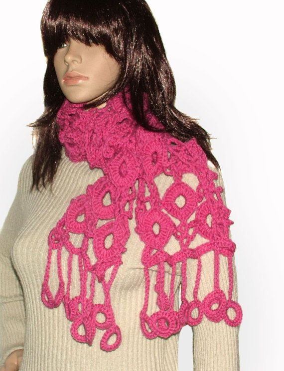 Crochet Lace Scarf Women's Dusty Pink scarf by rensfibreart