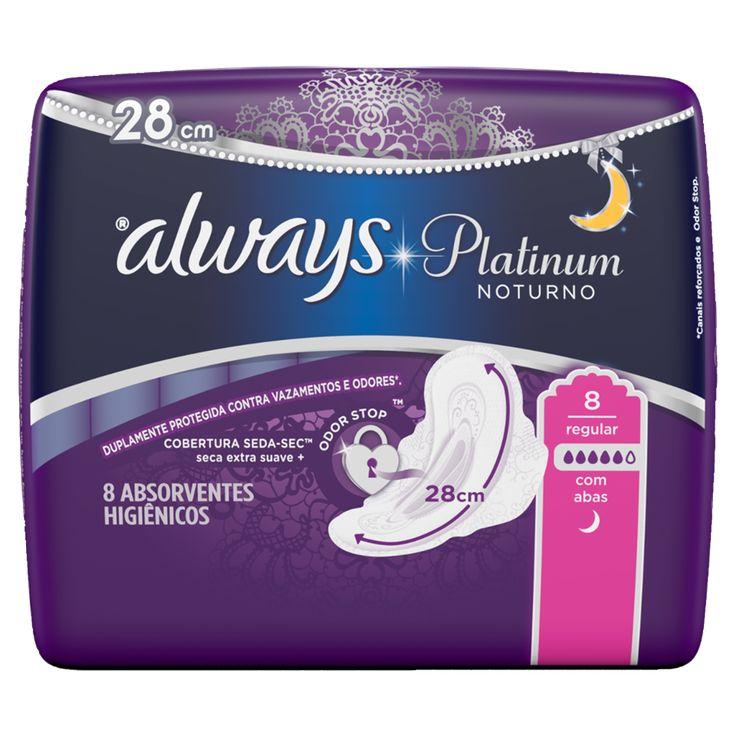 Todos os Absorventes que Always traz para você | Always BR Os absorventes Always Platinum Noturno com abas contam com uma cobertura Seda-Sec™ 28 cm mais largo para uma absorção instantânea duradoura.Conheça!