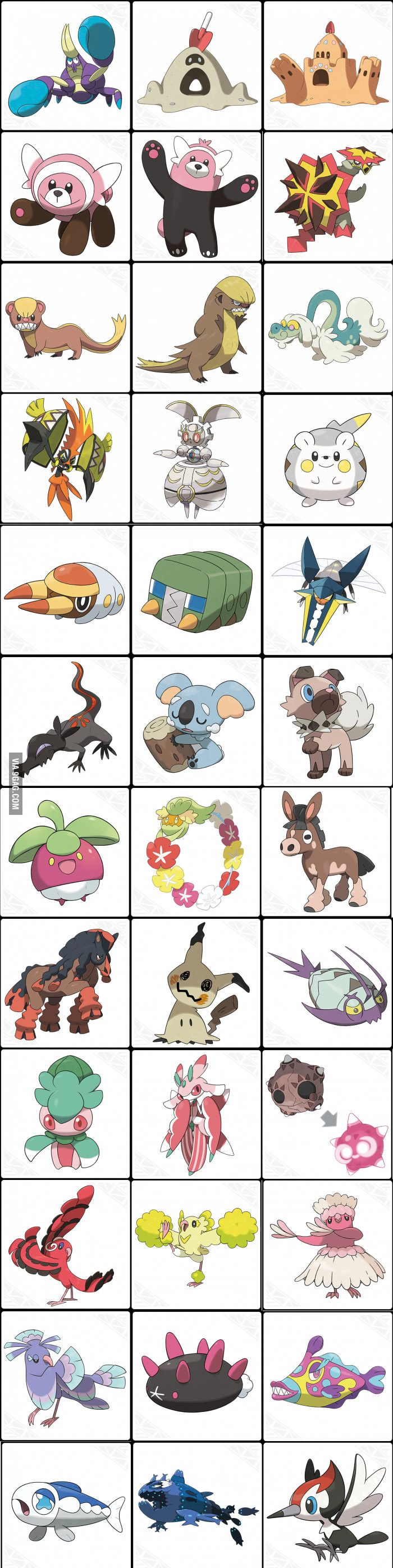 All known new Pokémon in Pokémon Sun and Moon. (except for the Legendaries, Starters, Bruxish and Cutiefly.) - 9GAG