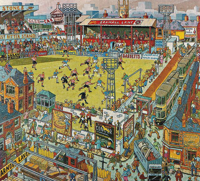 Saturday at the Lane - Sheffield United Centenary Painting on Flickr Sheffield United celebrated their centenary in 1989 and local artist Joe Scarborough painted this matchday scene to commemorate the landmark in the club's history.