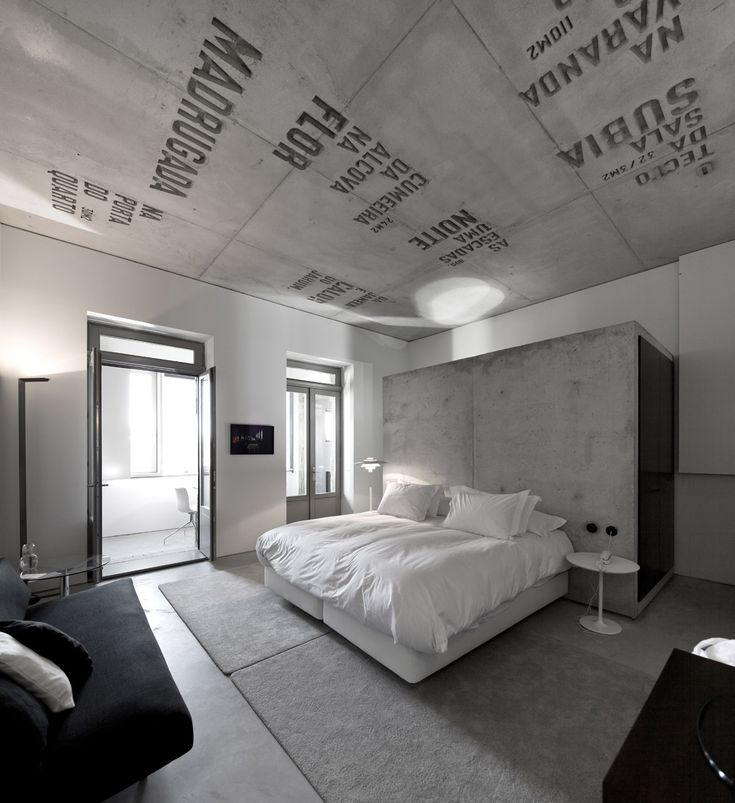 Apartment, Modern Apartment Interior Design Completed With Unique Writing Symbols: Writing In Grey Ceiling In Bedroom
