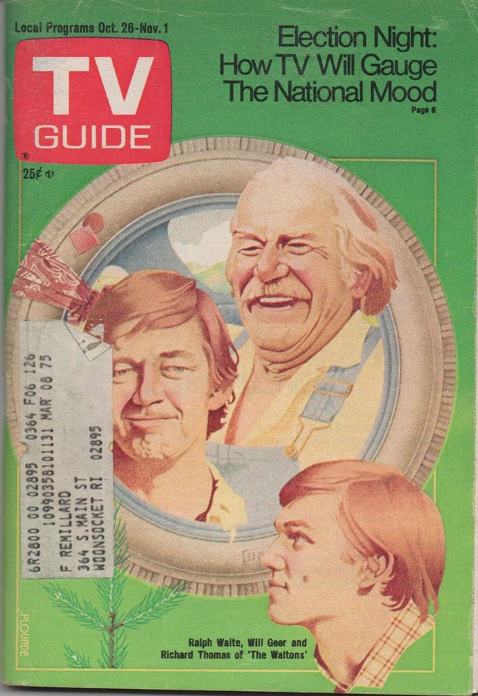 1974 TV GUIDE Ralph Waite Will Geer & Richard Thomas of 'The Waltons' Oct. 26