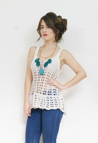 90s white lacey crochet strappy top
