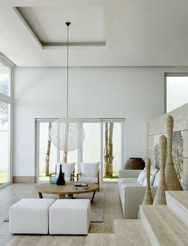un salon design en total look couleur lin jusquau carrelage en pierre naturelle - Salon Design Sol Gris