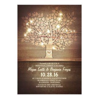 Luzes da corda & jantar de ensaio rústico da convite 12.7 x 17.78cm