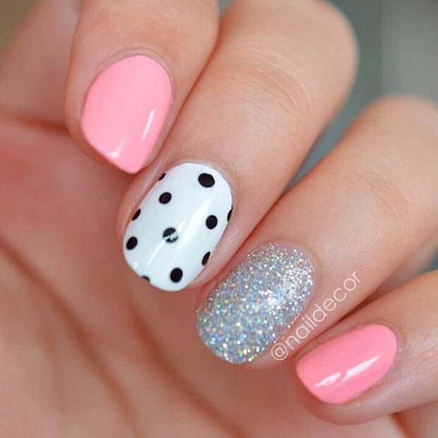 Black and White Polka Dot Accent Nail