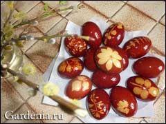 пасхальные яйца с оттиском растений - как сделать
