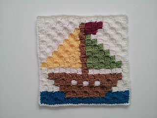This c2c block is a 15 by 15 pixel square block which measures up to 12 inches with a border of single crochet around.