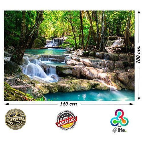 PMP de 4life Décoration Murale Cascade dans la forêt Décoration Murale image haute résolution HD Poster XXL 140 cm x 100 cm Naturel pour conception | photo poster Paysage Arbres Eau | murale avec poster New York Skyline