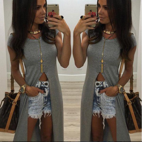 maxi-tshirt-cinza-longa-fenda-moda-blogueira-2016-comprar