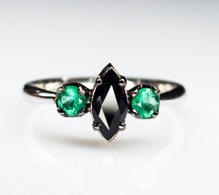 Black stone ring - Vintage engagement ring - black sapphire ring - emerald ring - sapphire gold ring - engagement emerald ring - gift women by HappyJewelryBoutique on Etsy
