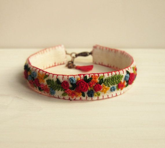 Spring Garden Hand Embroidered Boho Cuff Bracelet by Sidereal