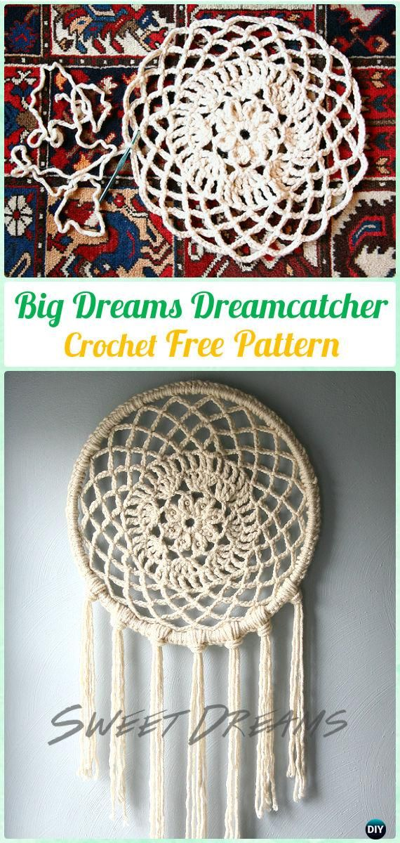 Crochet Big Dreams Doily DreamCatcher Free Patterns - #Crochet Dream Catcher Free Patterns