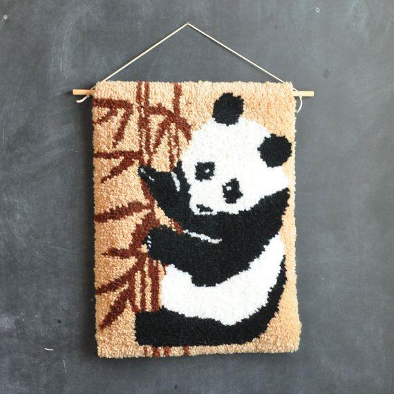 Vintage Handmade Latch Hook Rug Panda Bear Wall By Drowsyswords 35 00 I Would Like To