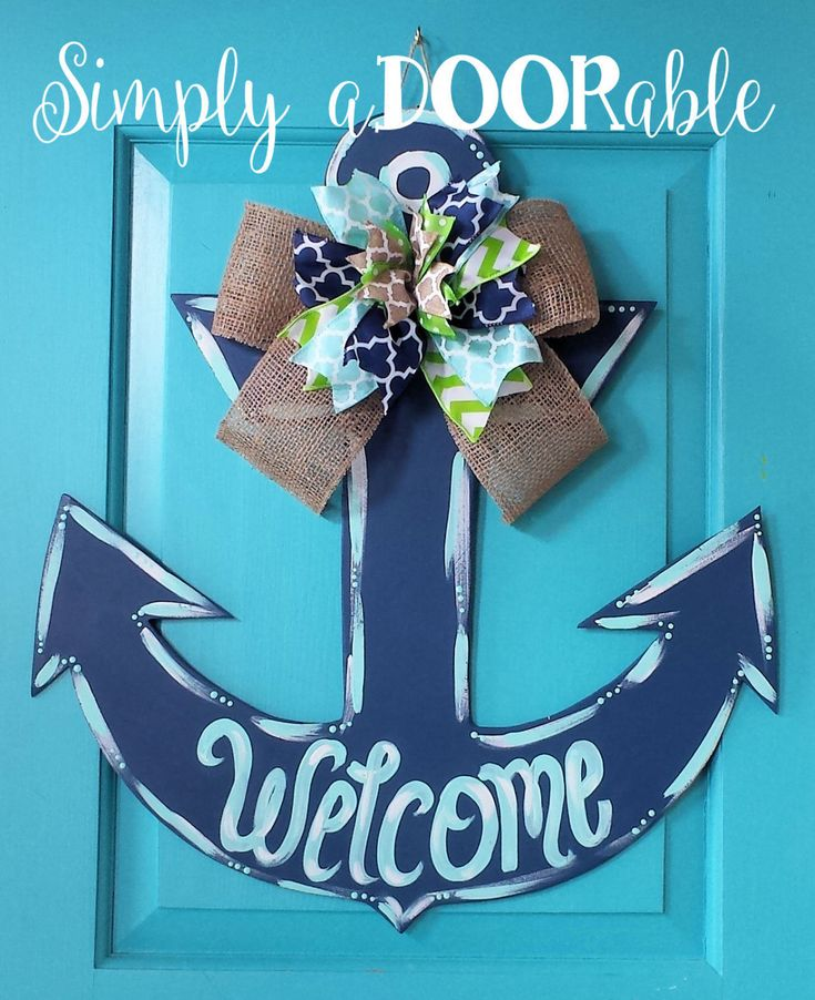 Anchor Wood Door Hanger by SimplyaDOORable.  Anchor Door Decor, Anchor, Anchor Door Hanger, Summer Door Decor, Beach Decor, Anchor Wreath by SimplyaDOORableNC on Etsy