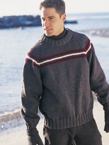 Free Pattern - Pullover with raglan sleeves and striping across the yoke. Shown in Patons Shetland Chunky. #sweater #knit #stripes